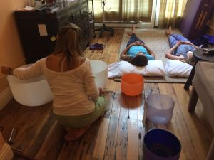 Teens enjoy sound bowls