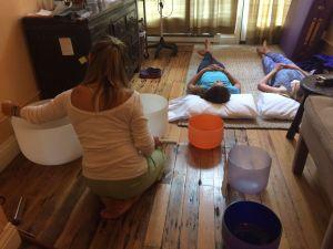 Teens enjoy sound bowls